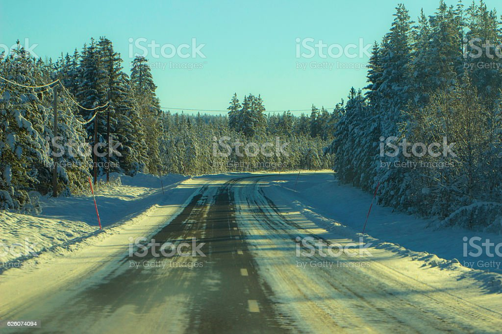 Winter in Russia Road stock photo