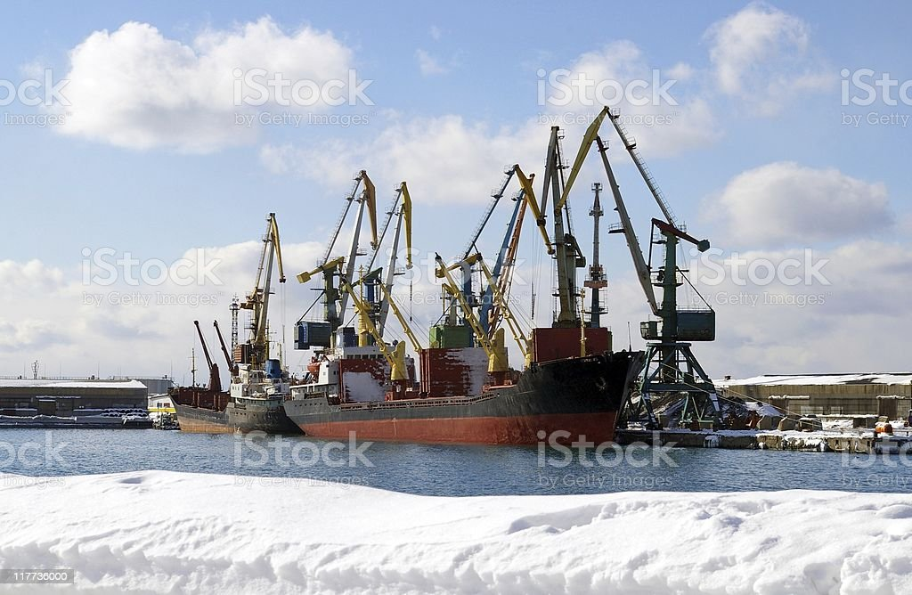 Winter in seaports. royalty-free stock photo