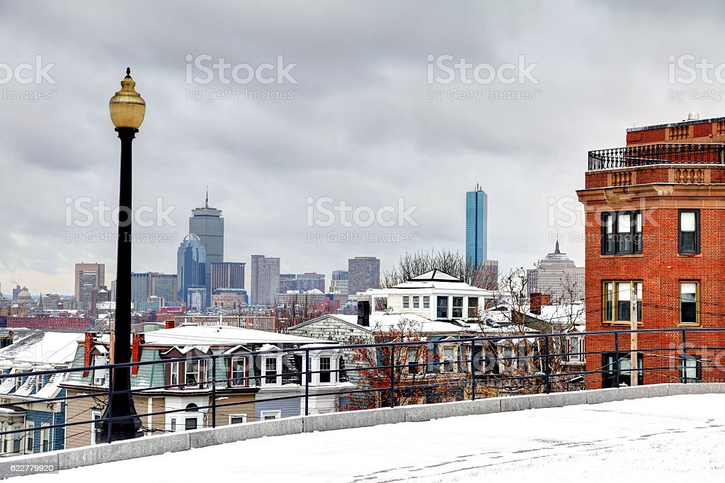 Winter in South Boston. Southie Neighborhood stock photo