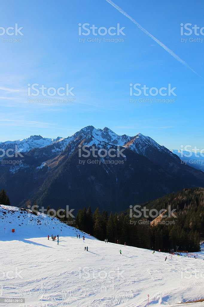 Winter in St. Johann - Alpendorf Skiamade Ski resort stock photo