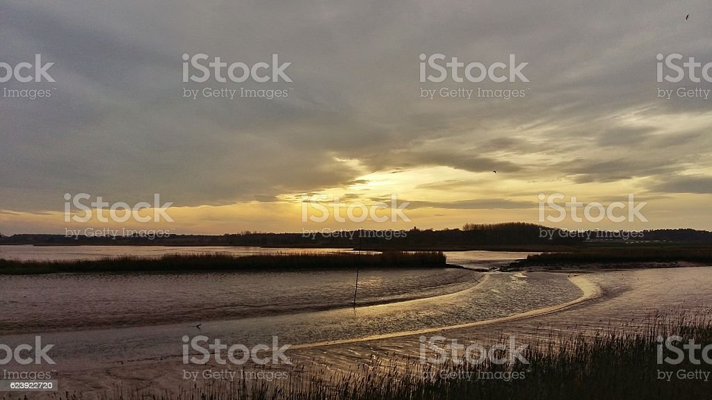Winter in Suffolk, low tide on River Alde at Snape stock photo