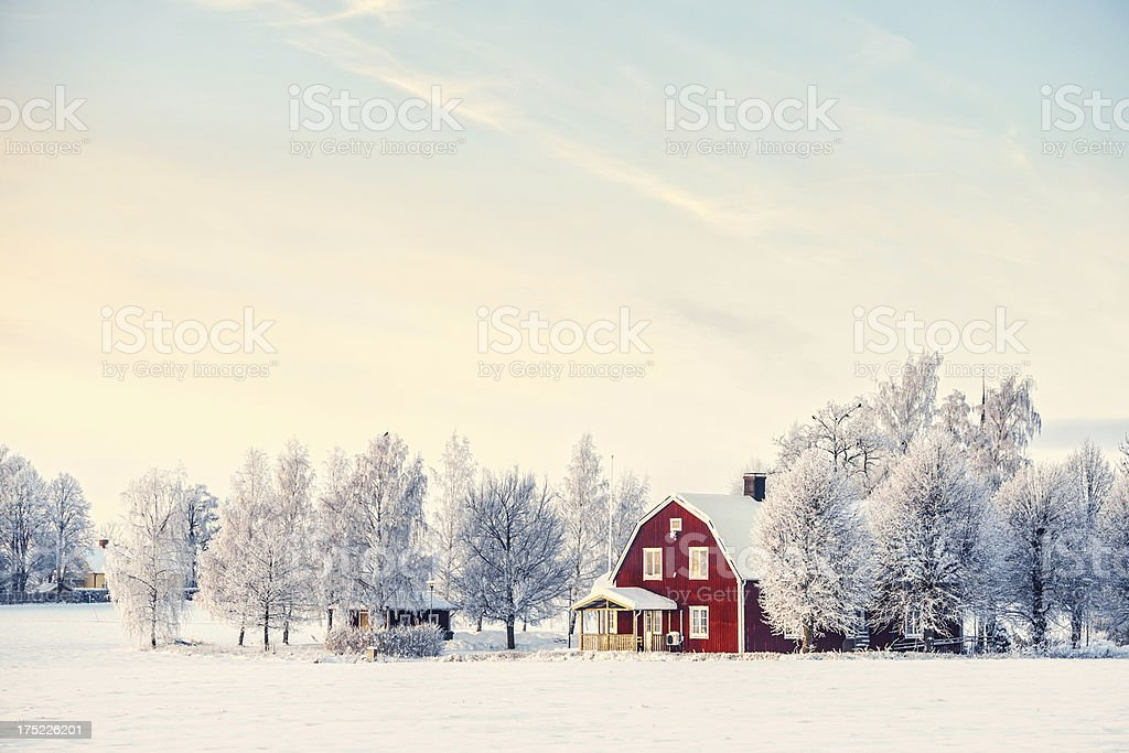 Winter in Sweden stock photo