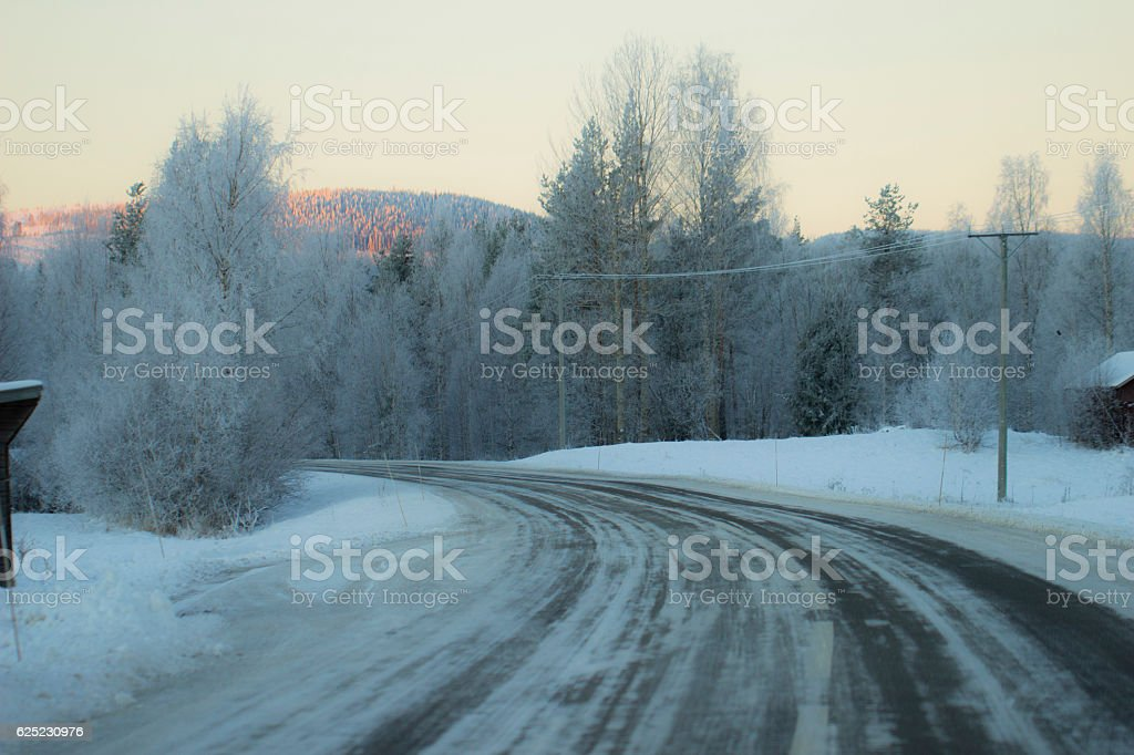 Winter in Sweden Road stock photo