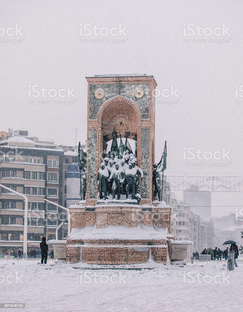 Winter in Taksim Square, Beyoglu, Istanbul, Turkey stock photo