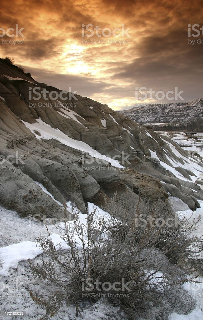 Winter in the Badlands stock photo