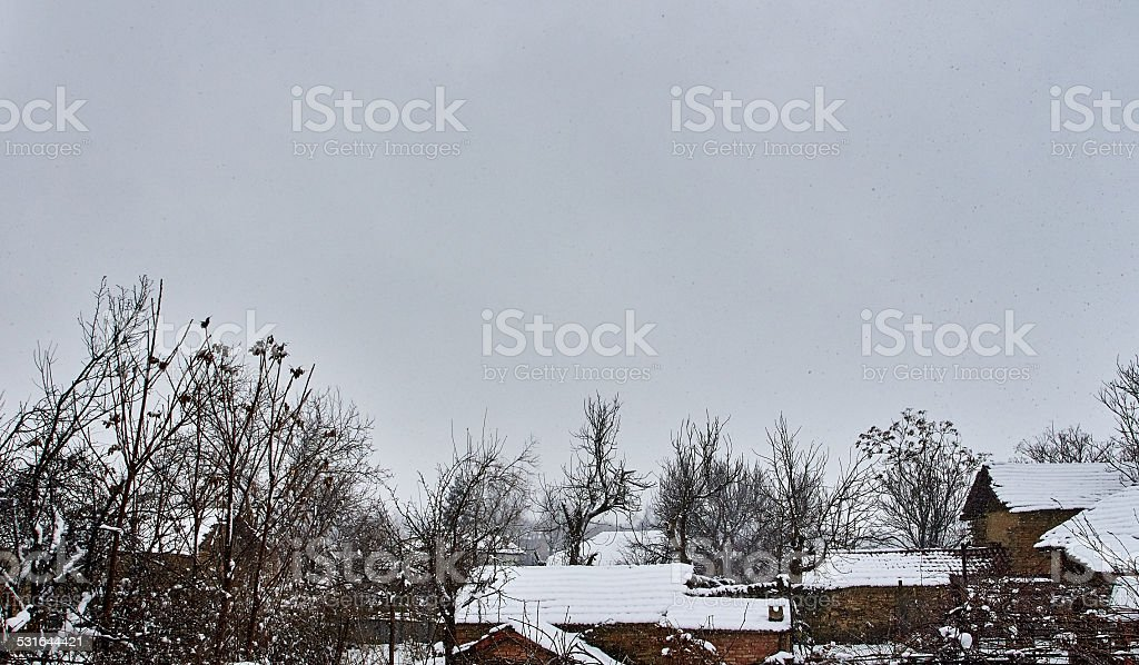 Winter in the Bulgarian village royalty-free stock photo