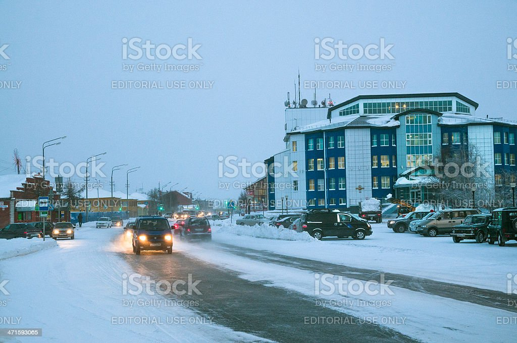 Winter in the city. stock photo