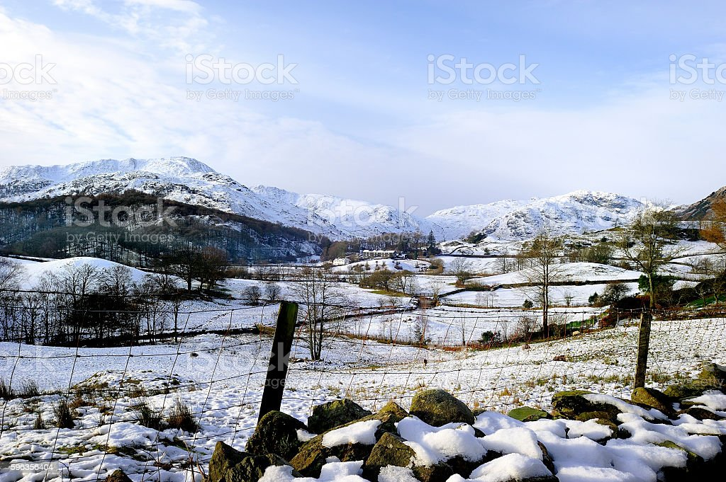 Winter in the Langdales stock photo