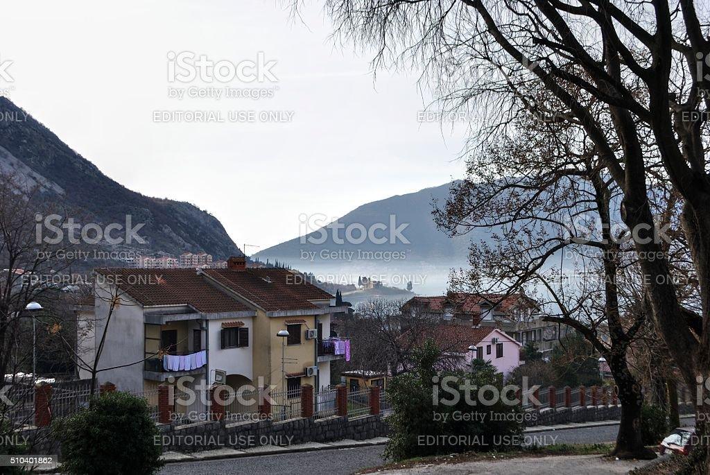 Zima w Risan miasta. zbiór zdjęć royalty-free