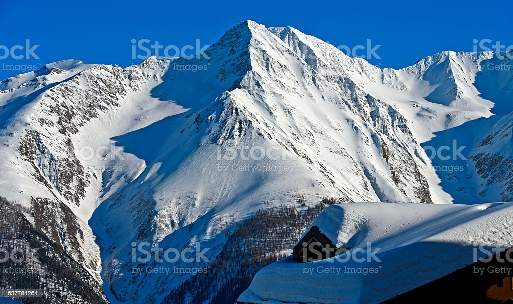 Winter in the Swiss Alps stock photo