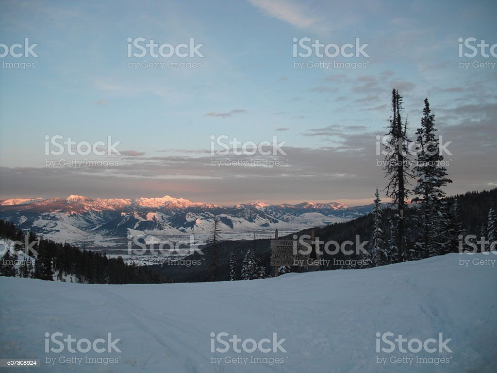 Winter Jackson Hole Welcome Sign -Far View stock photo