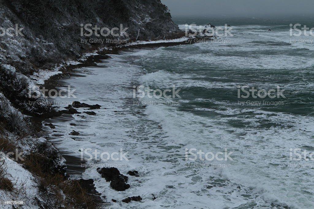 Winter Japan Sea stock photo