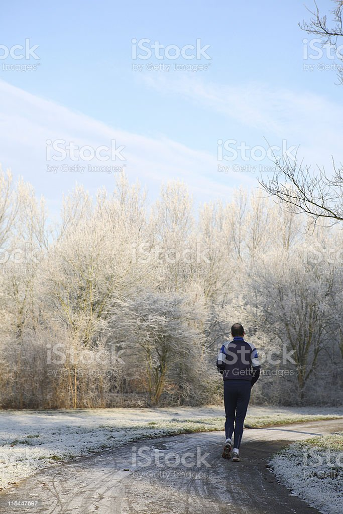 Winter Jogging royalty-free stock photo