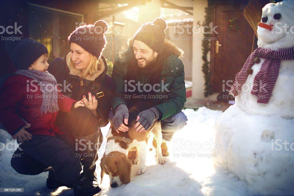 Winter joy on the snow stock photo