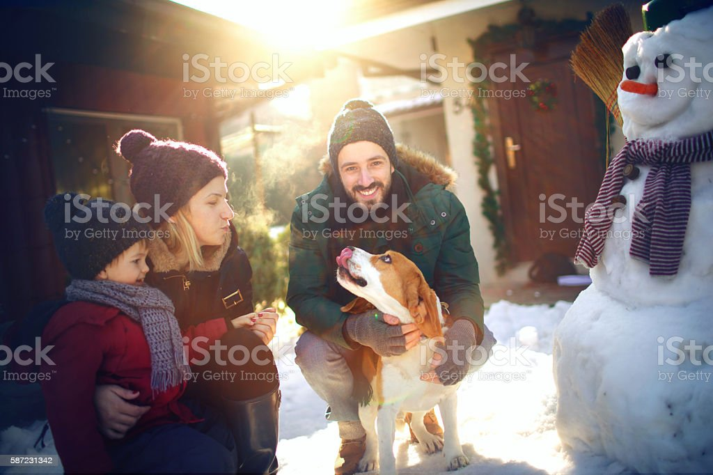 Winter joy on the snow stock photo