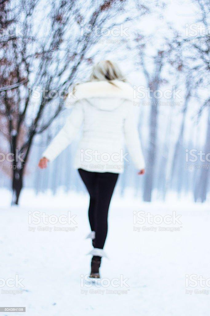 Winter jump stock photo