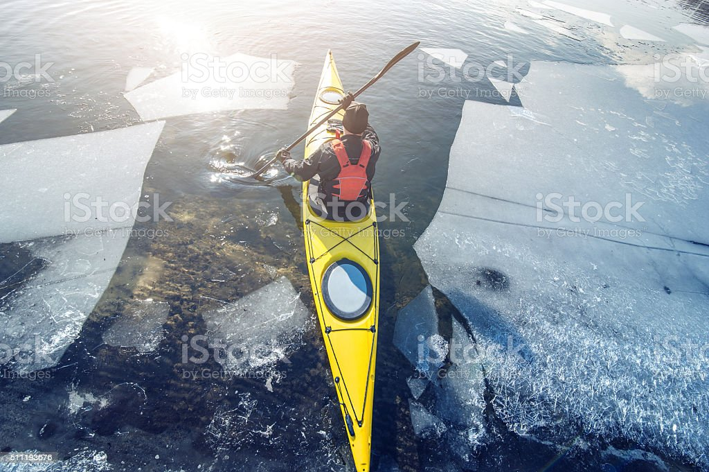 winter kayaking in ukraine stock photo