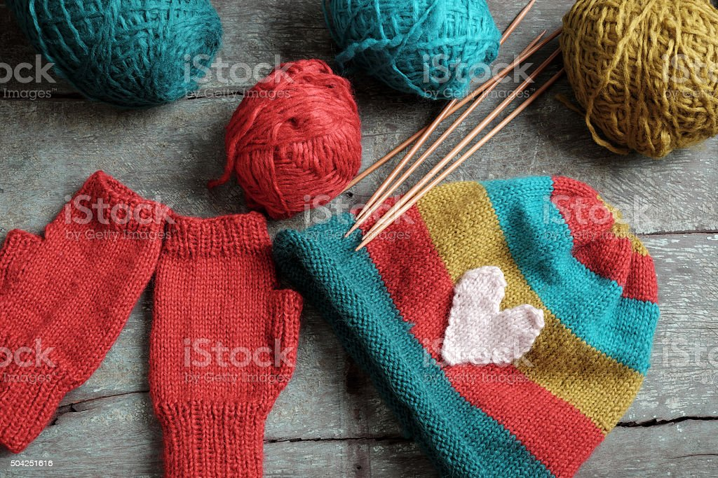 winter, knitted gloves, knit hat stock photo