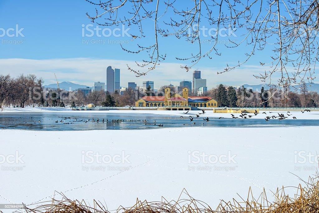 Winter Lake At Downtown Denver stock photo