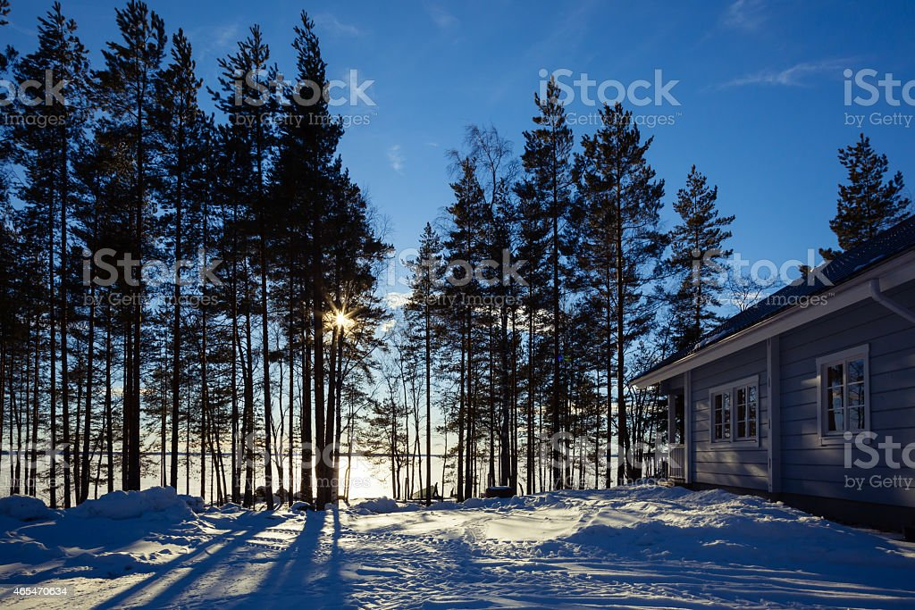 Winter lake in forest with house stock photo