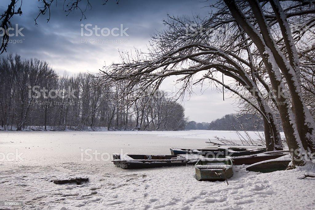 Winter lake, landscape royalty-free stock photo