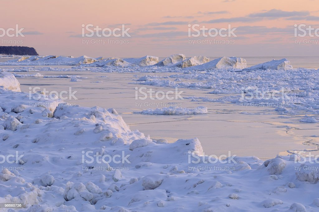 Winter Lake Michigan stock photo
