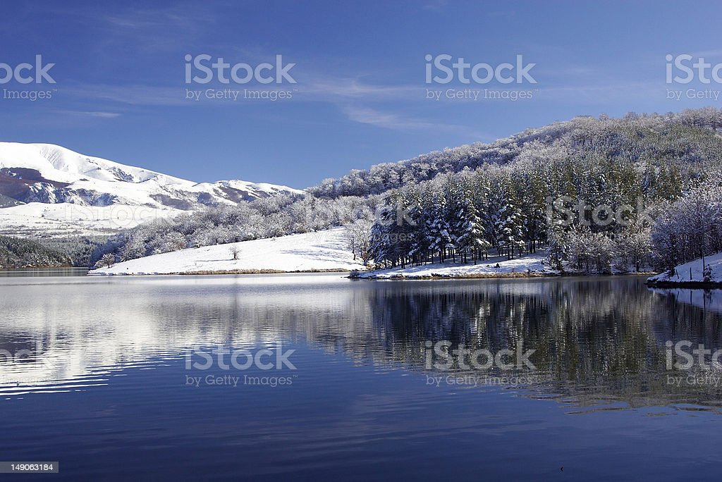 winter lake stock photo