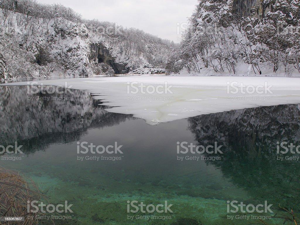 Winter lake reflections royalty-free stock photo