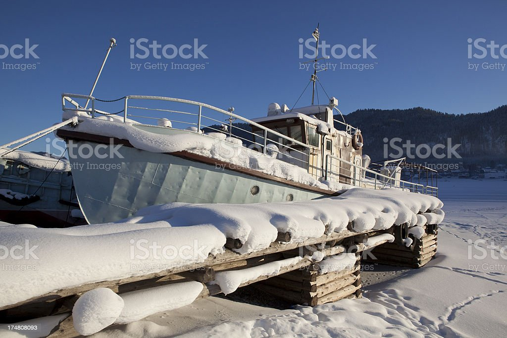 Winter landing stage royalty-free stock photo