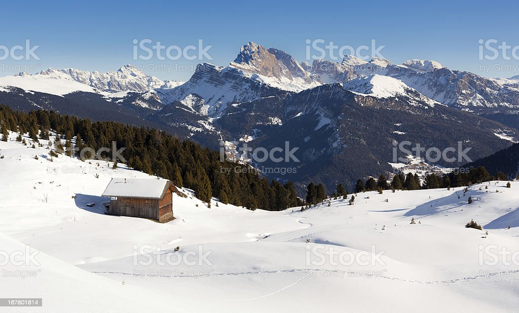 Winter Landscape, Alps Italian Dolomites Panoramic View stock photo