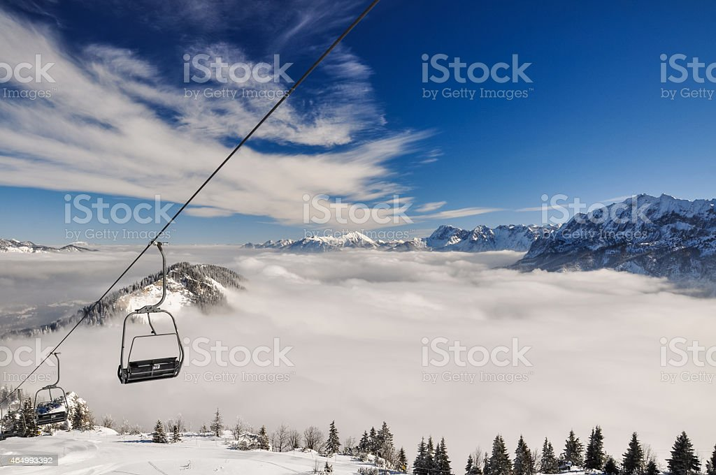 Winter landscape and a chairlift near Garmisch - Germany stock photo