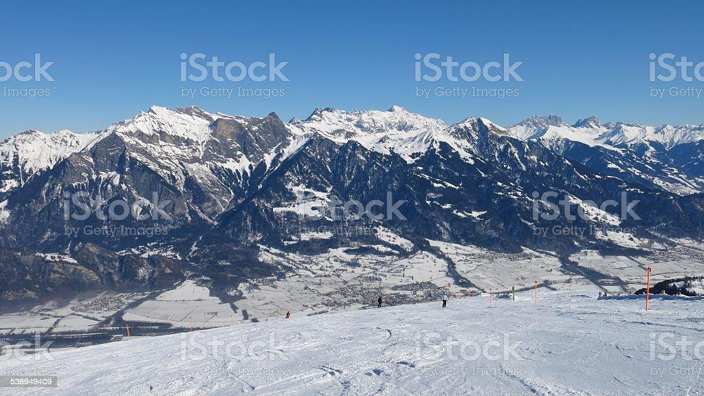 Winter landscape and ski slope of the ski area Pizol stock photo