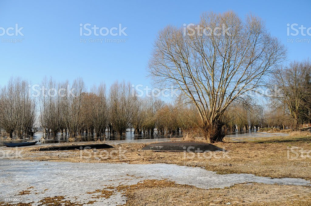 winter landscape at Havel River and boat (Germany) stock photo