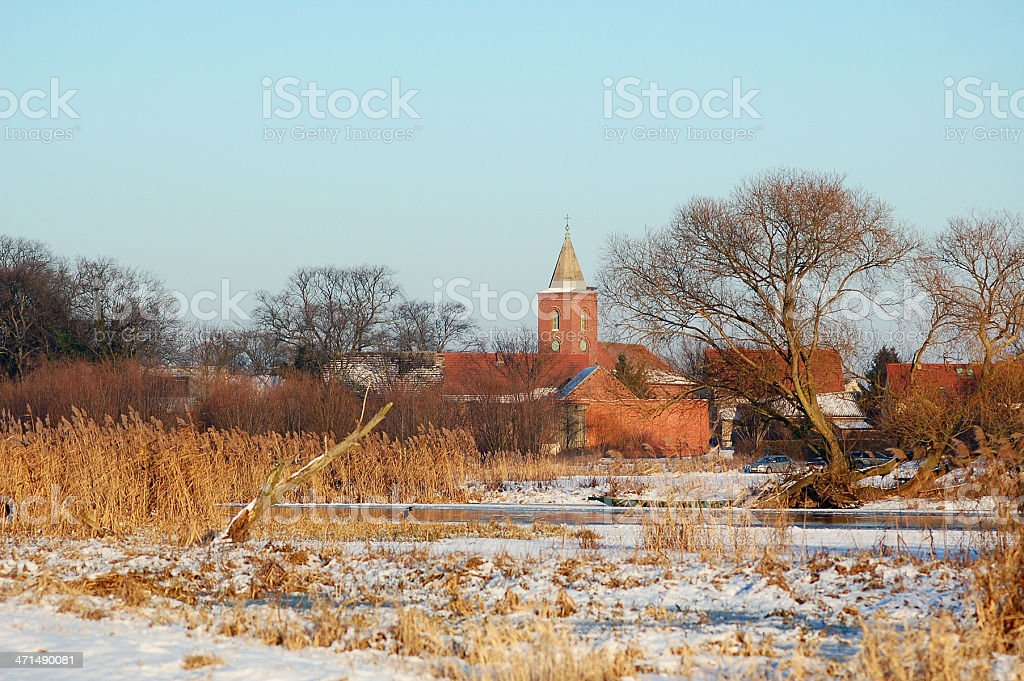 winter landscape at Havel River and village Guelpe (Germany) stock photo