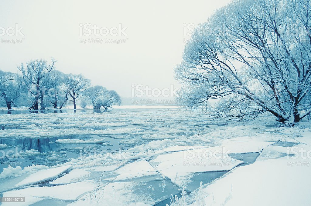 winter landscape at Havel River with ice floe (Germany) stock photo