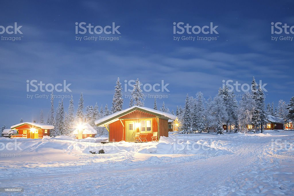 Winter landscape at night royalty-free stock photo