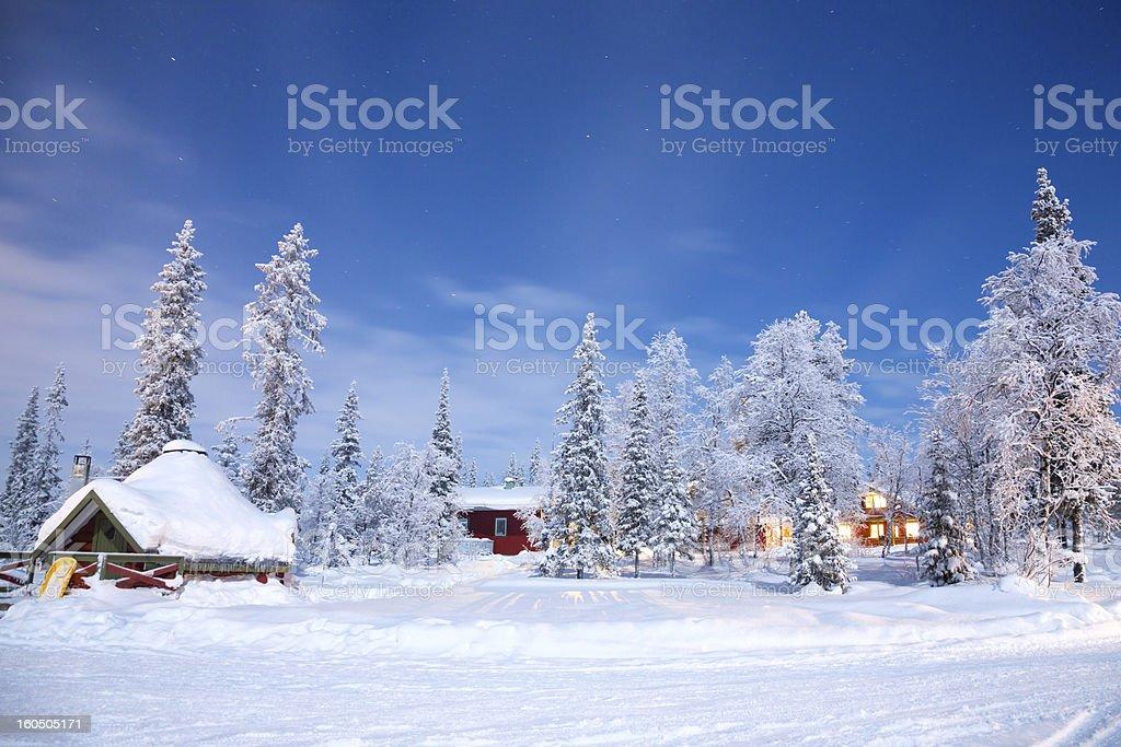 Winter landscape at night stock photo