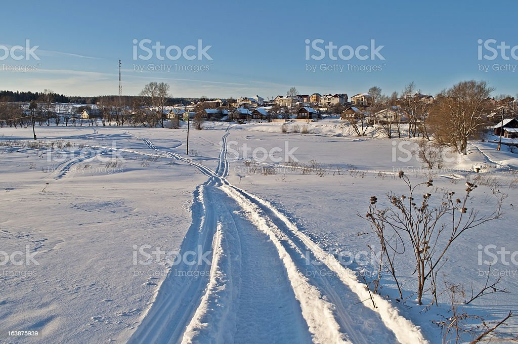 Winter landscape at sunset royalty-free stock photo