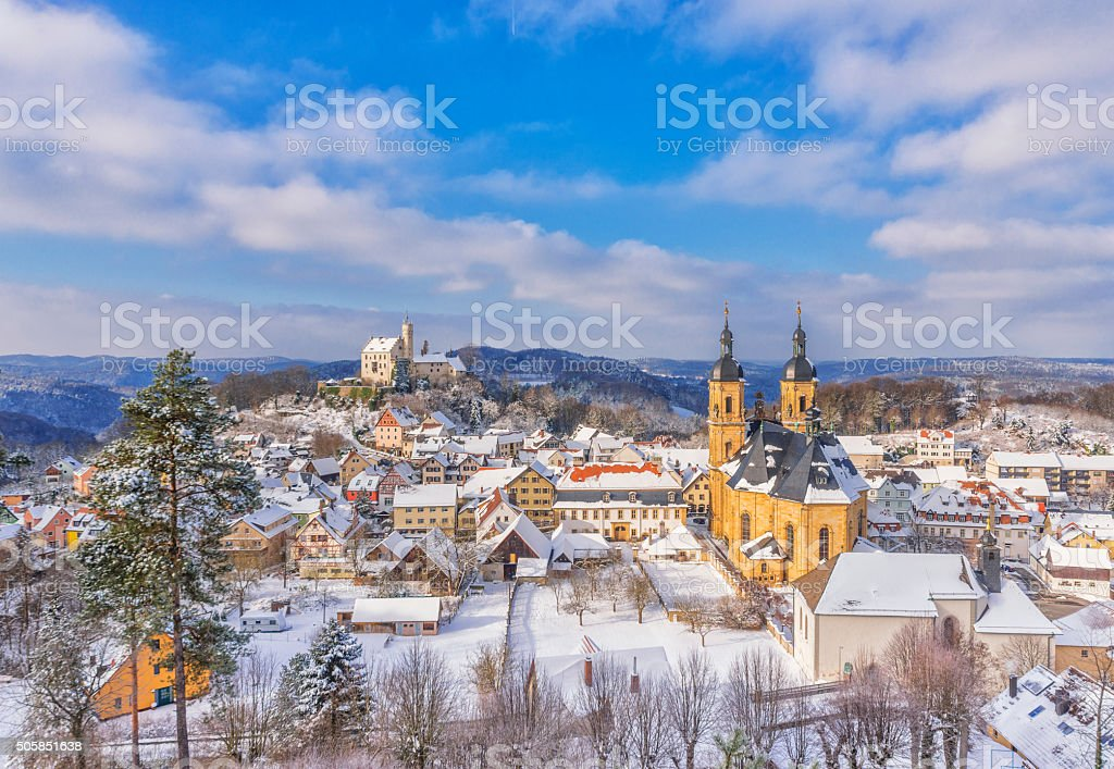 Winter landscape at the village of Goessweinstein, Franconian Switzerland stock photo