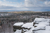 Winter landscape at with rocks under snow