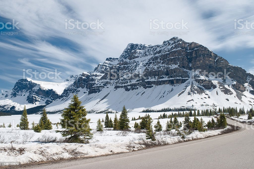 Winter landscape. Canadian Rocky Mountains and frozen Bow Lake, Canada royalty-free stock photo