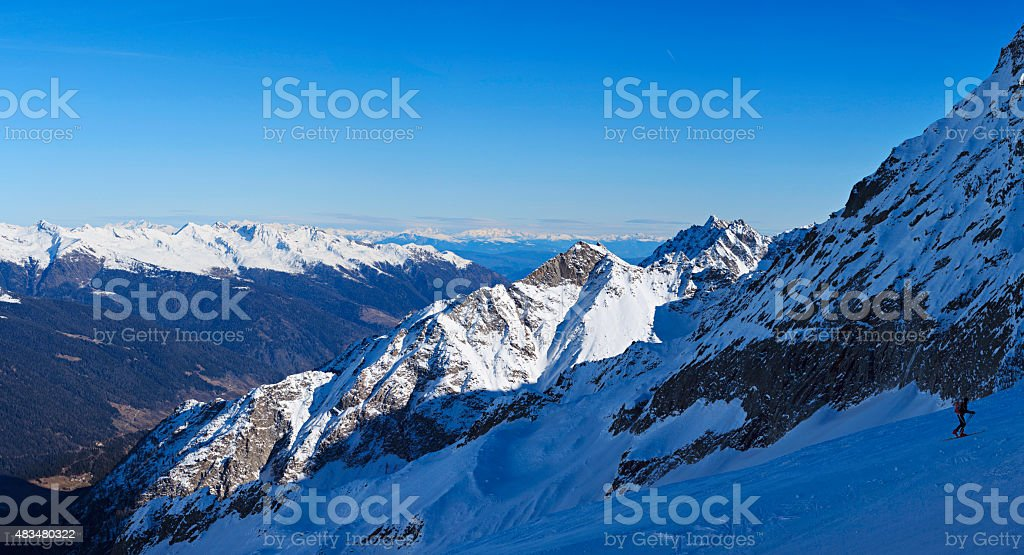 Winter landscape Fresh snow on the top of Alps Mountains stock photo