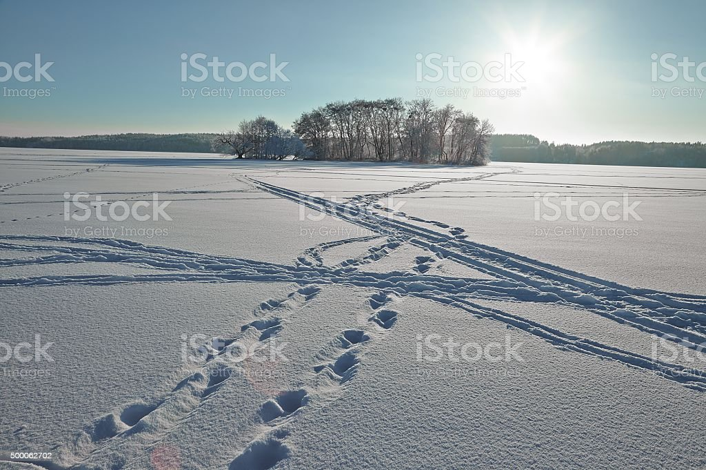 Winter Landscape, Frozen Lake stock photo