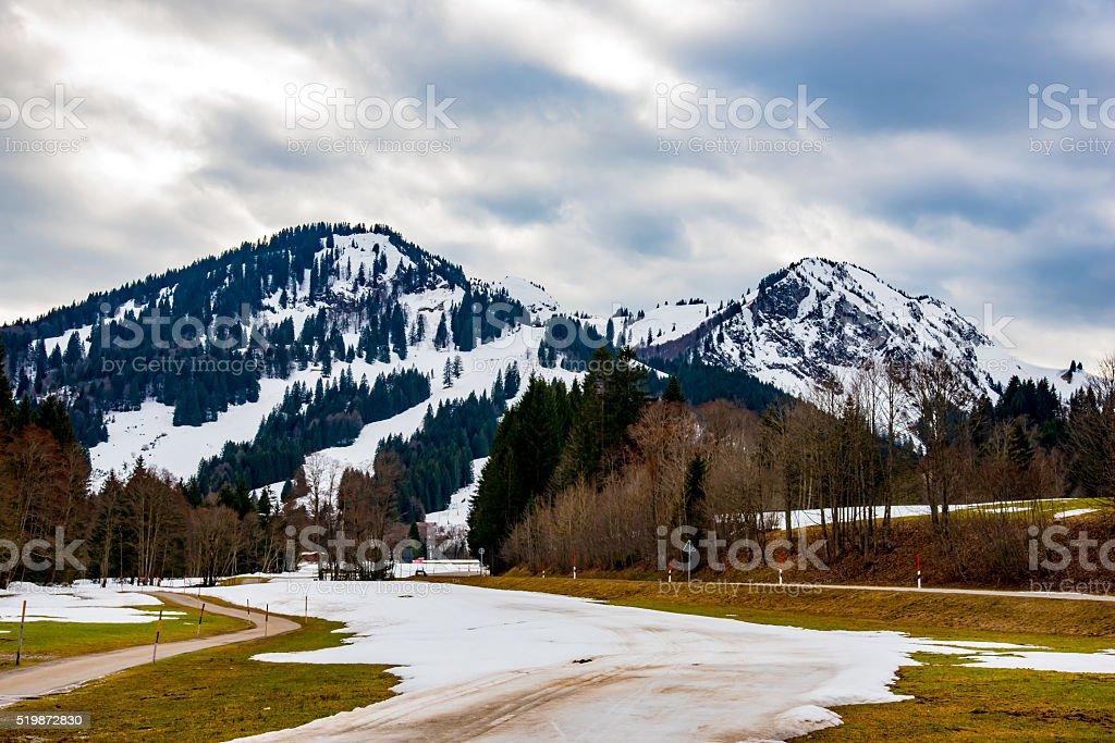 Winter landscape in bavaria stock photo