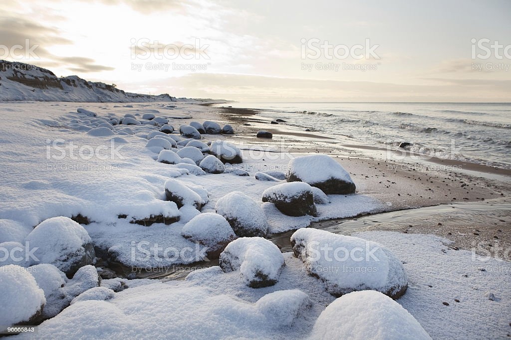Winter landscape in beach royalty-free stock photo