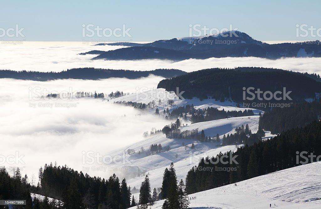 winter landscape in Black Forest with Belchen and Stübenwasen stock photo