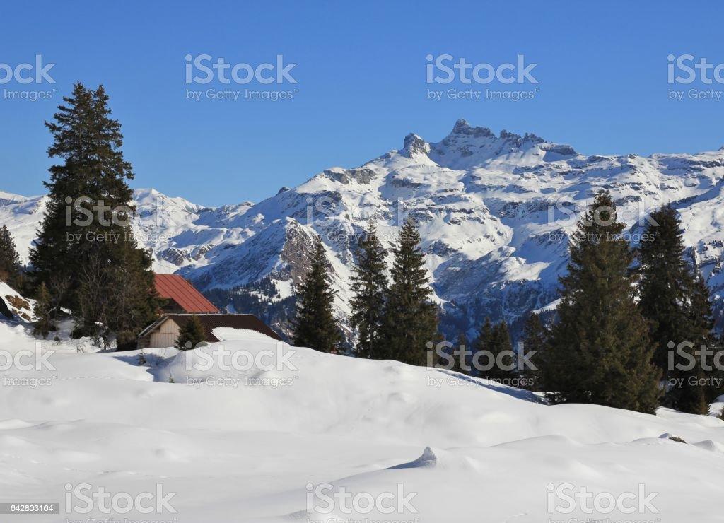 Winter landscape in Braunwald, Switzerland stock photo