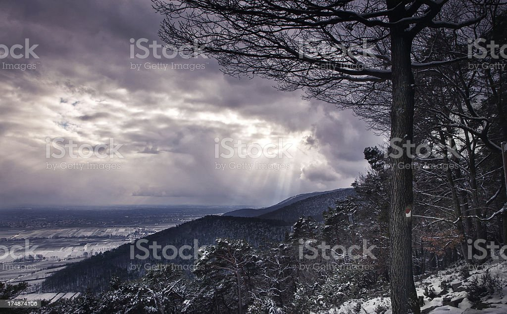 Winter Landscape in dramatic light royalty-free stock photo