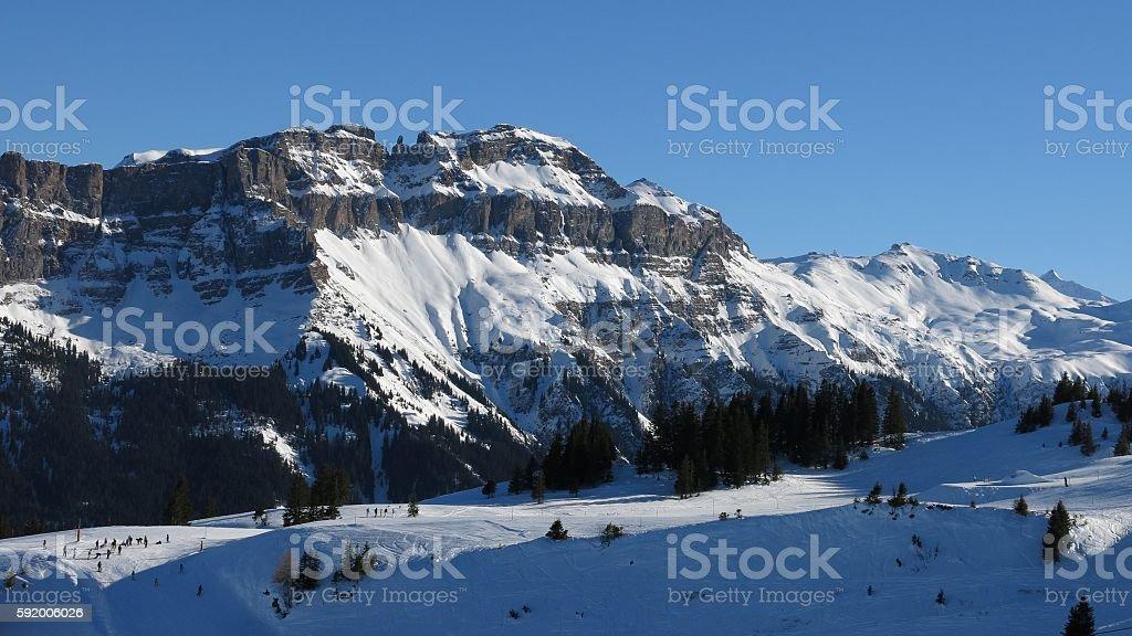 Winter landscape in Flumserberg stock photo