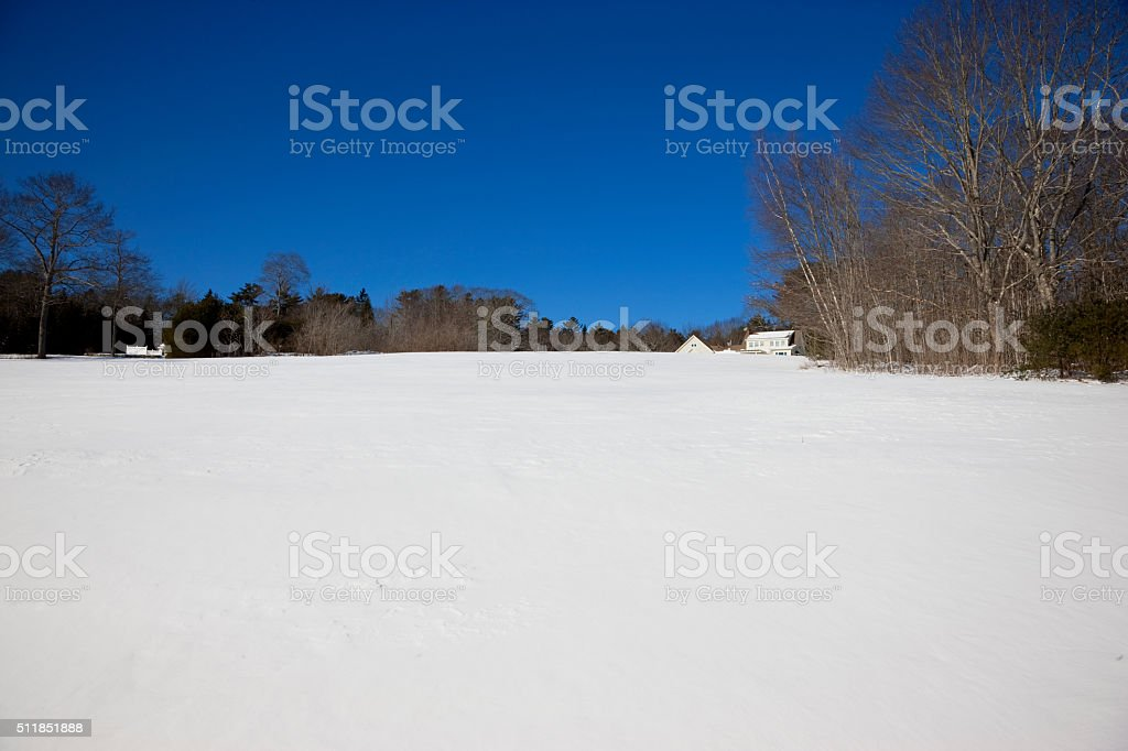 Winter landscape in Maine, USA stock photo